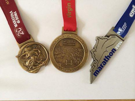 three marathons three medals