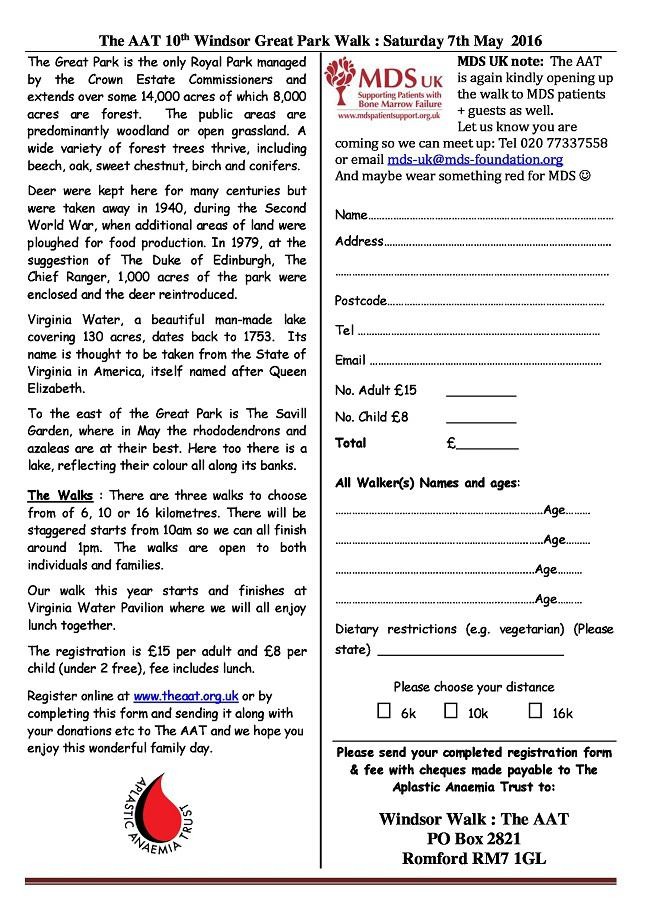 Windsor Walk Registration Form